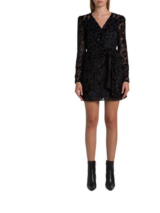 self-portrait Flocked Organdie Mini Dress With Leopard Pattern