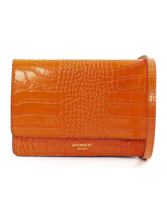 Avenue 67 Orange Leather Clutch Bag