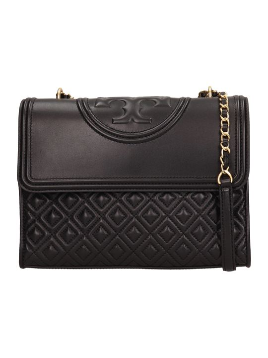 Tory Burch Black Quilted Leather Fleming Convert Bag
