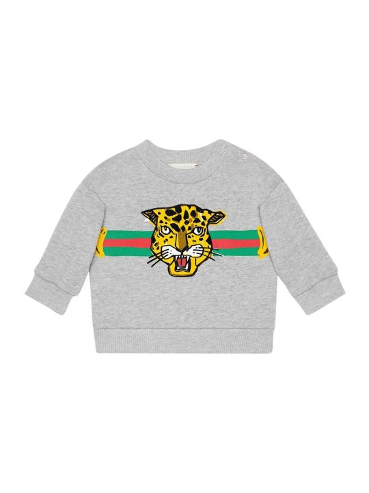 Gucci Grey Swetashirt With Multicolor Frontal Press
