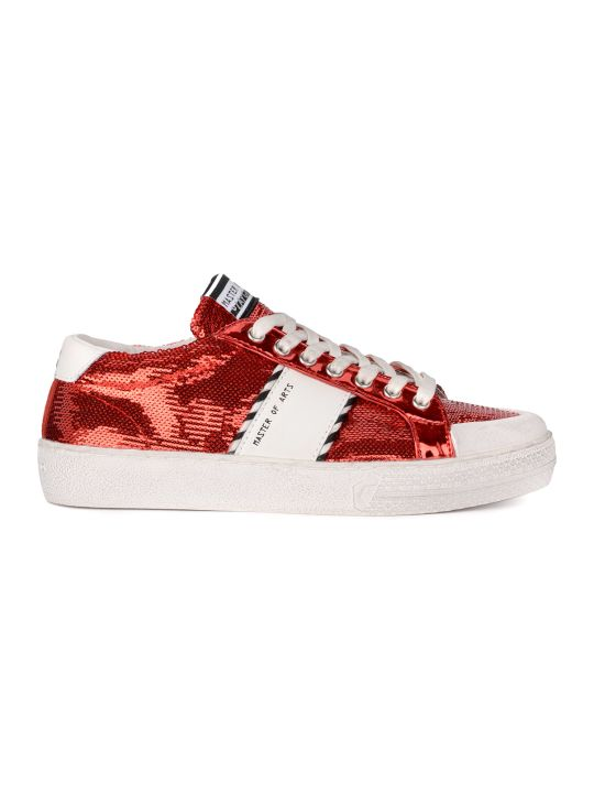 M.O.A. master of arts Moa Red Sequins And White Leather Sneaker