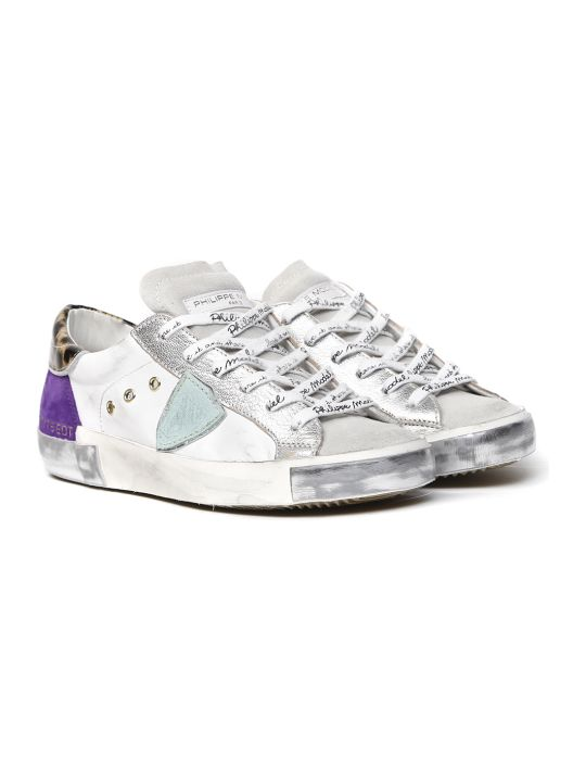 Philippe Model White & Violet Leather & Suede Sneakers