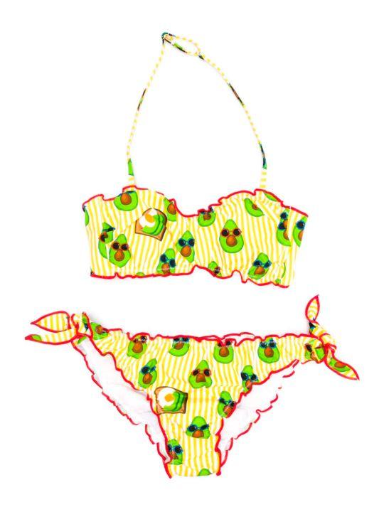 MC2 Saint Barth Emy Striped Bikini Yellow Kids