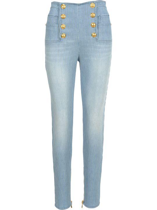 Balmain High Waist 8 Buttons Jeans