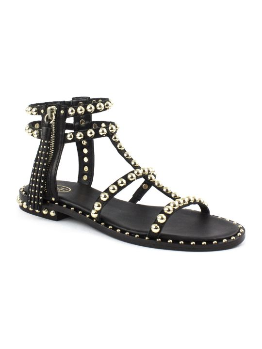 Ash Black Leather Sandals