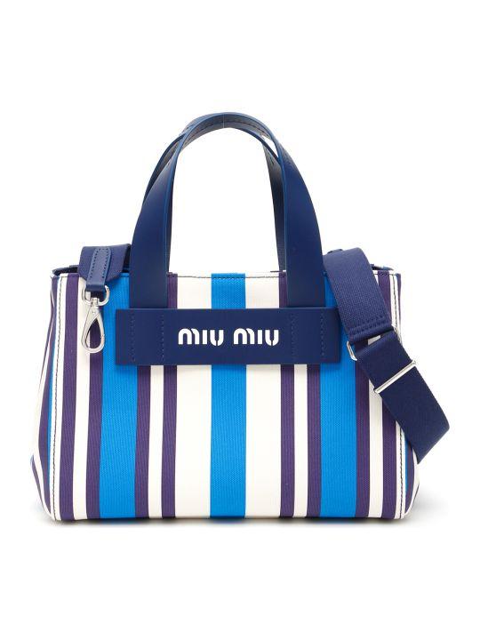 Miu Miu Small Multicolor Striped Shopper