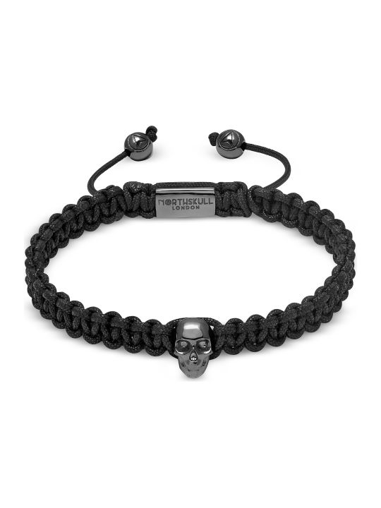 Northskull Atticus Skull Macramé Bracelet In Black And Gunmetal