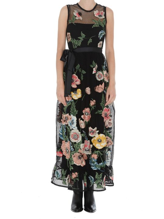 RED Valentino Macrame' Dress With Embroidered Poppies Detail