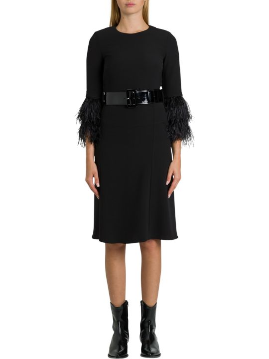 Parosh Bleted Midi Dress With Ostrich Feathers Detail