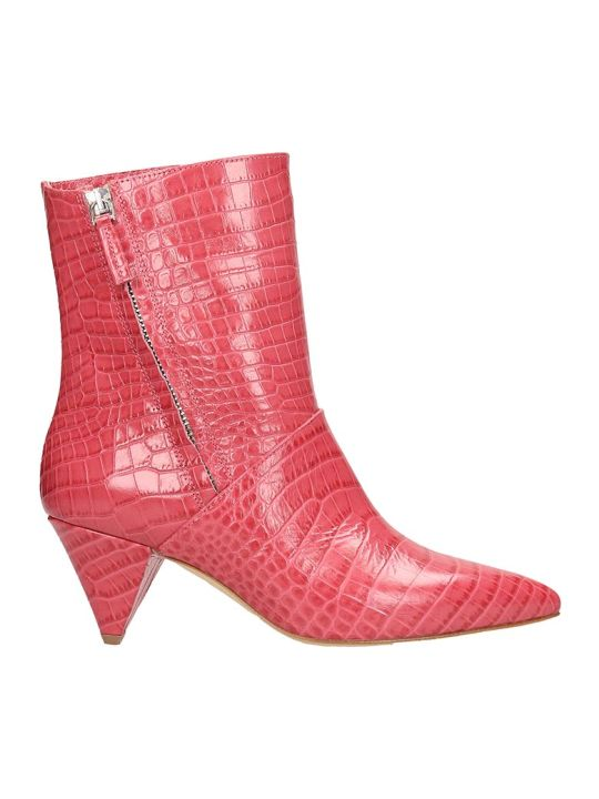 The Seller Red Cocco Print Leather Ankle Boots
