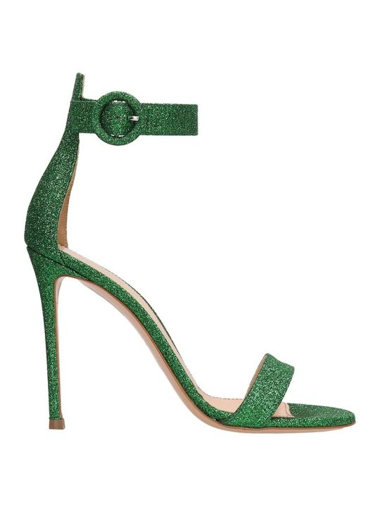 Lerre Green Glitter Leather Sandals