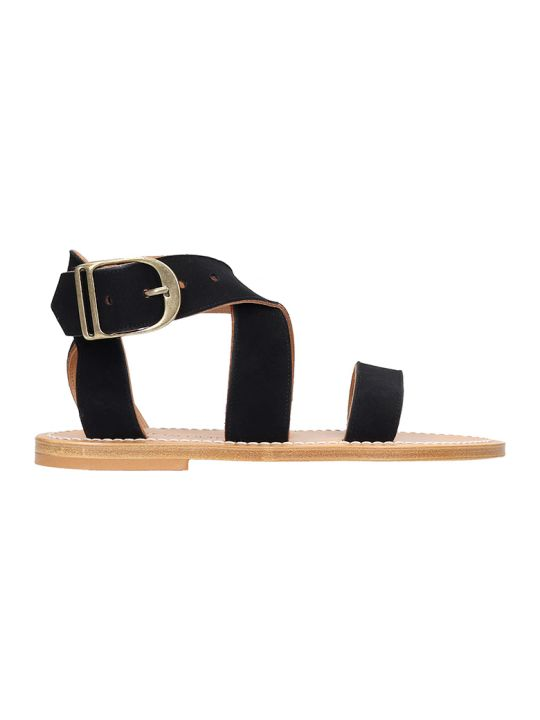 K.Jacques Flats In Black Suede