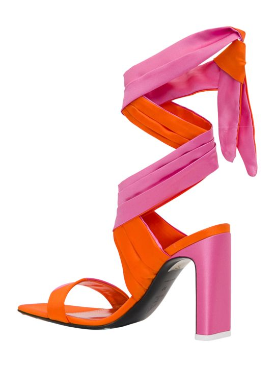 The Attico Laced Up Satin Sandals