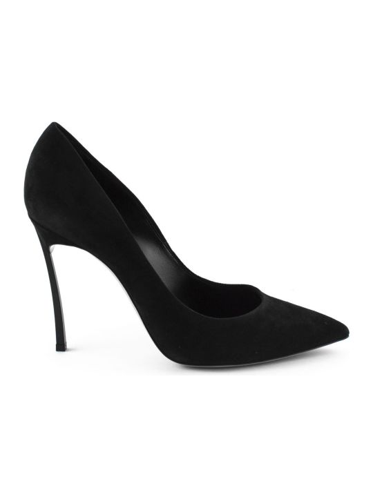 Casadei Black Suede Pump.
