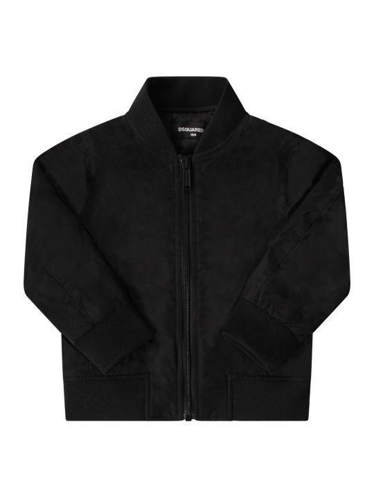 Dsquared2 Black Babyboy Jacket With White Logo