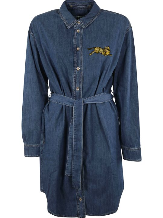 Kenzo Belted Waist Denim Shirt Dress