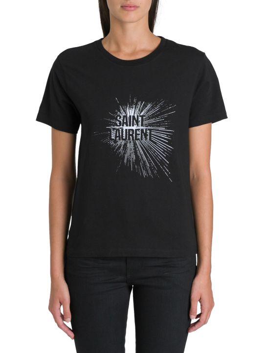 Saint Laurent T-shirt Girocollo A Maniche Lunghe Con Stampa Frontale