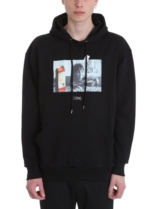 Throw Back Matilda Black Cotton Hoodie
