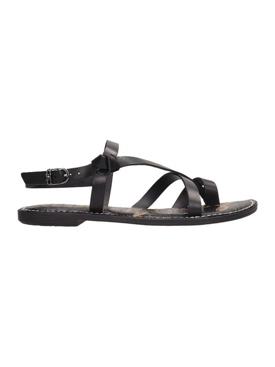 Sam Edelman Black Leather Gladis Flats Sandals