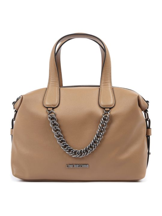 Love Moschino Cuir Faux Leather Handbag With Chain Detail