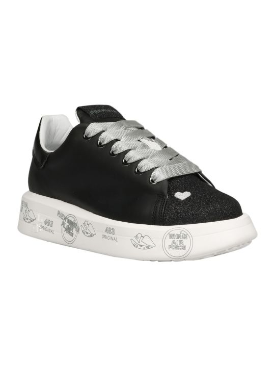 Premiata Belle Glitter/leather Sneakers