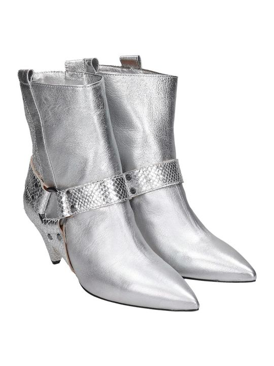 The Seller High Heels Ankle Boots In Silver Leather