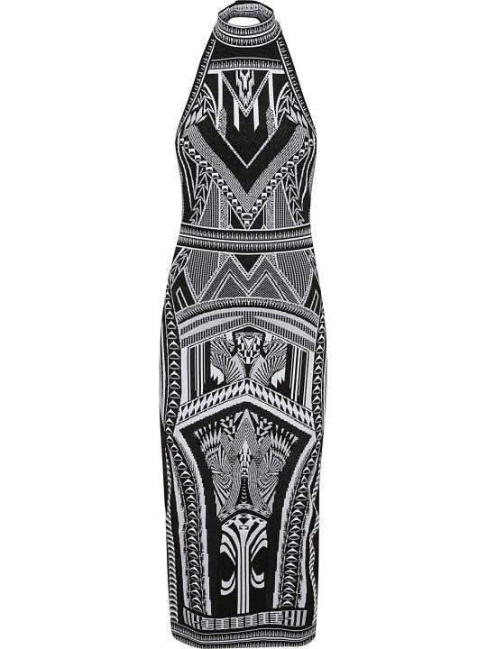 Balmain Long Halterneck Jacquard Dress