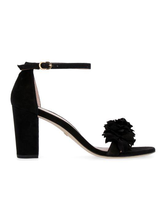 Stuart Weitzman Nearlynude Flower Suede Sandals