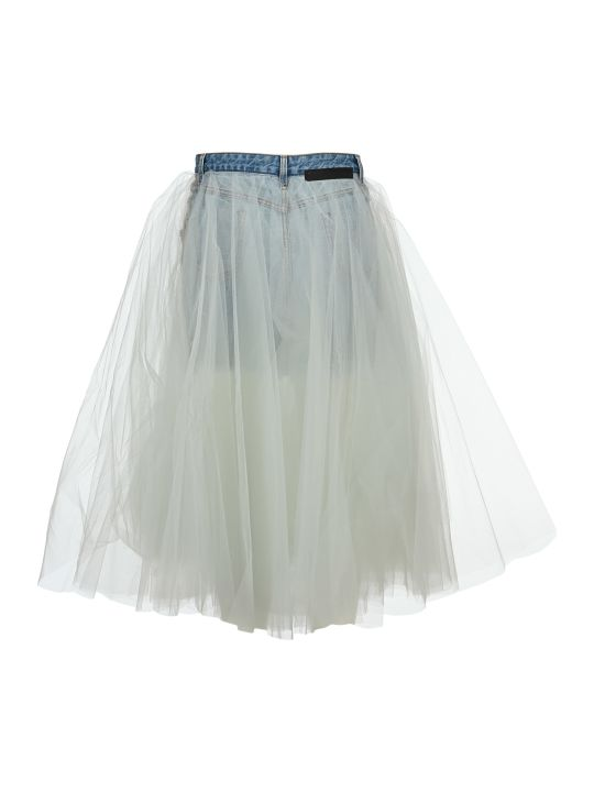 Ben Taverniti Unravel Project Unravel Tulle Layered Denim Skirt