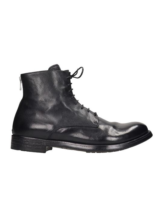 Officine Creative Hive  Ankle Boots In Black Leather