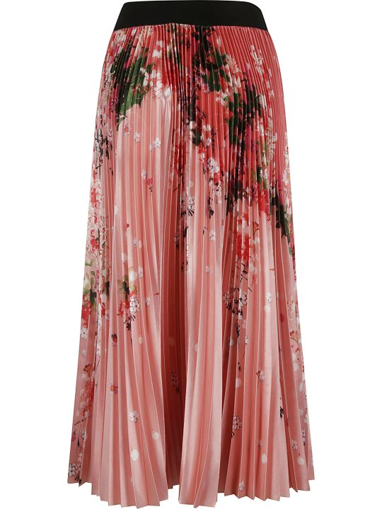 Givenchy Long Pleated Floral Print Skirt
