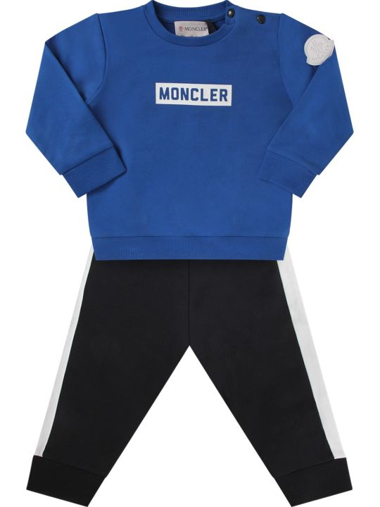 Moncler Blue And Black Babyboy Tracksuit With Logo