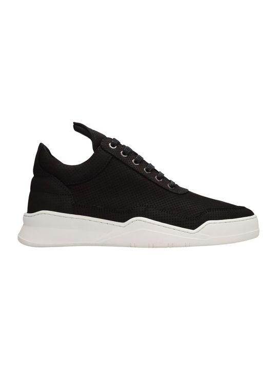 Filling Pieces Low Top Ghost Microlane Black Nabuk Sneakers