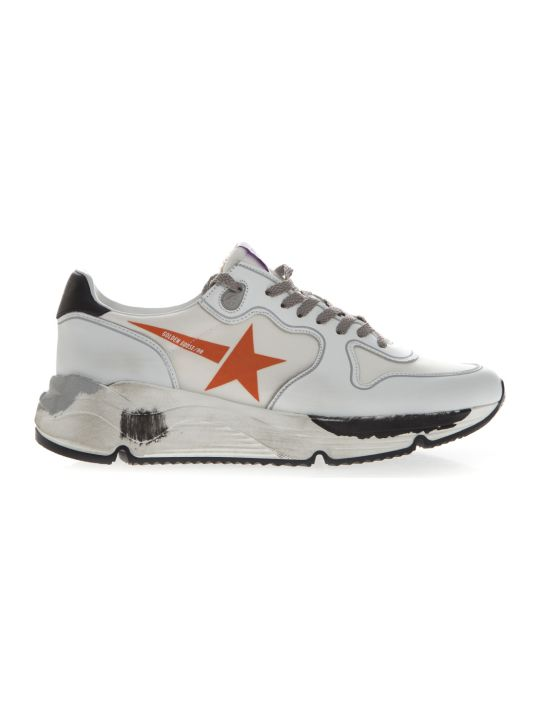 Golden Goose Star Printed Sneakers In White Leather