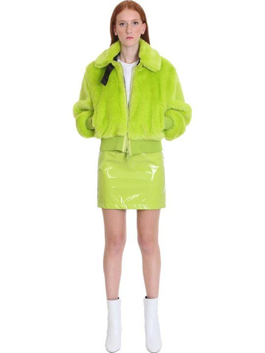 Kirin Bomber In Green Eco-fur
