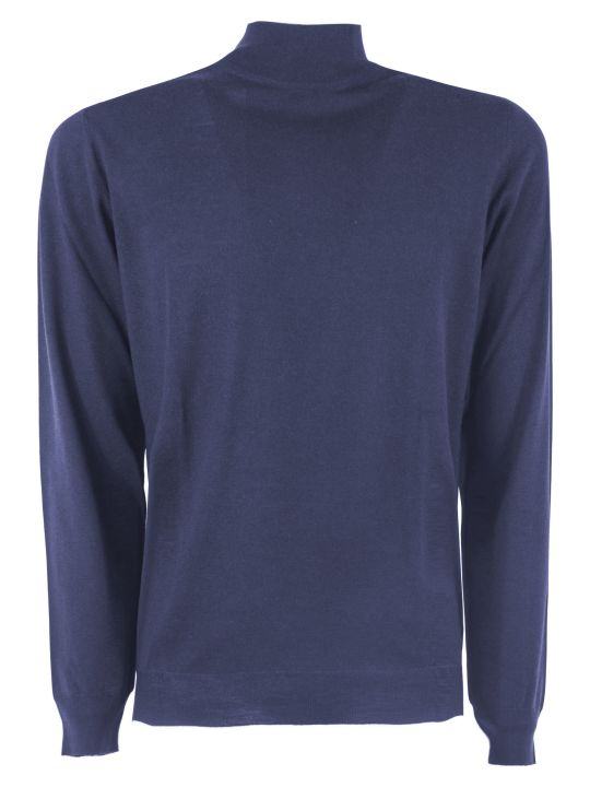 Fedeli Blue Virgin Wool Sweater