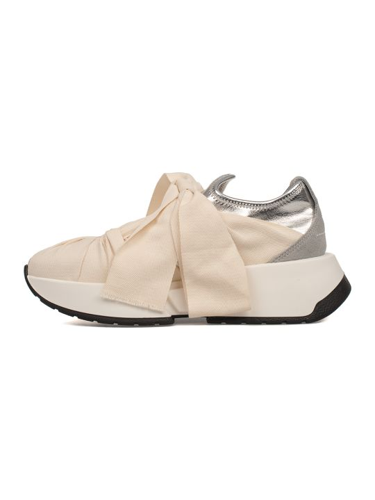 9dbca068a0f4 MM6 Maison Margiela MM6 Maison Margiela Ivory silver Metallic Faux Leather  Slip On Wedge Sneakers - Basic - 10598075
