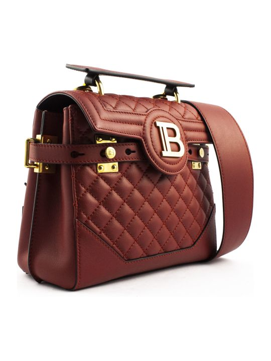Balmain Red Lambskin Leather B-buzz 23 Bag