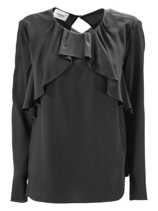 Dondup Black Blend Silk Blouse.