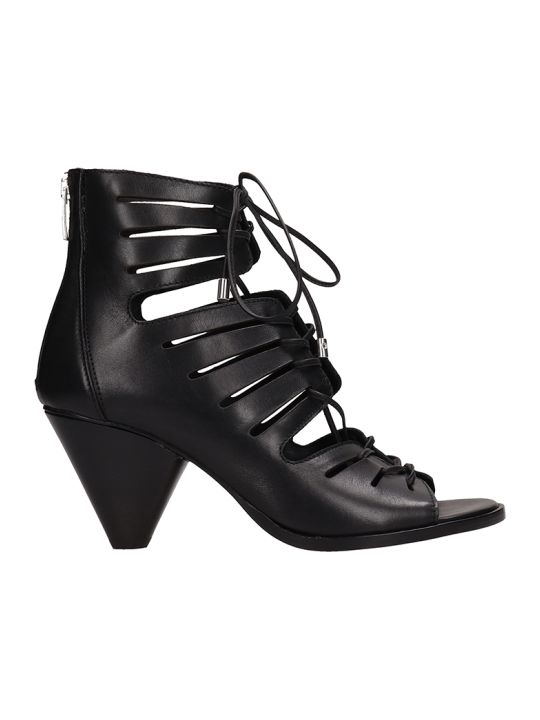 Janet & Janet Open Toe Black Leather Ankle Boots