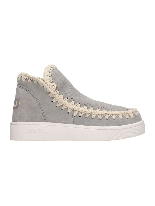 Mou Summer Eski Low Heels Ankle Boots In Grey Suede