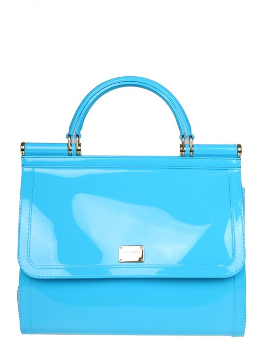 Dolce & Gabbana Sicily Hand Bag In Rubber Celeste Color