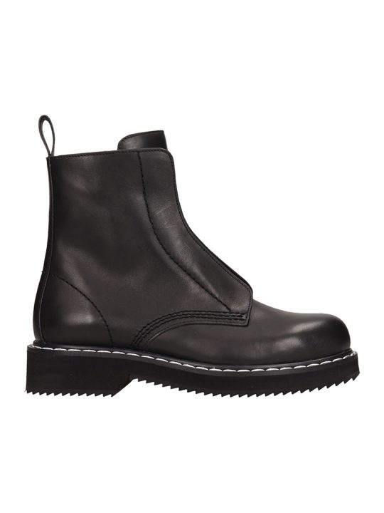 Jil Sander Navy Balck Leather Combact Boots