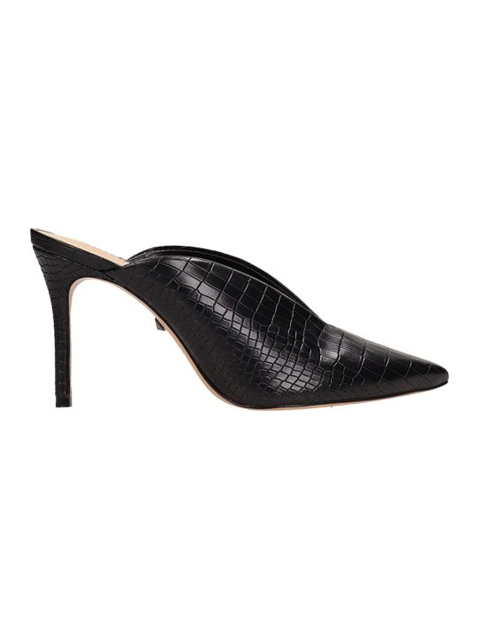 Schutz Cocco Print Black Leather Mules