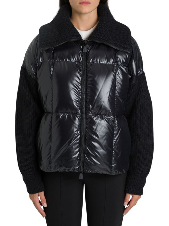 Moncler Grenoble Jacket In Laqué Nylon And Tricot Knit