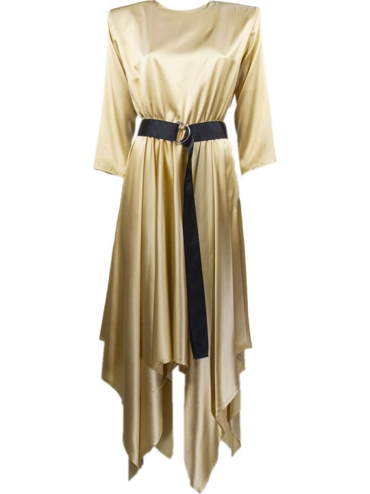 Federica Tosi Gold-tone Stretch Silk Belted Satin Dress