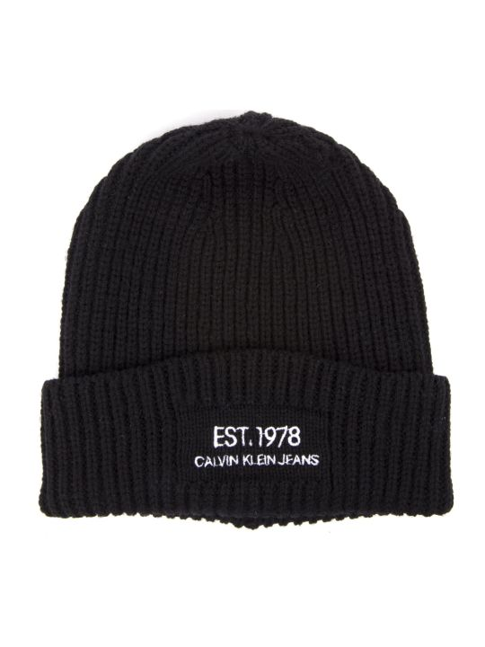 Calvin Klein Jeans Black Wool Beanie Hat With Logo