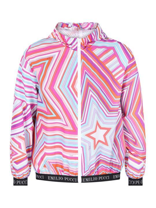Emilio Pucci Colorful Girl Windbreaker With Iconc Print