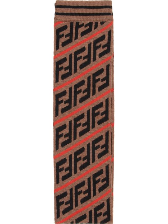 Fendi Brown Kids Scarf With Double Ff