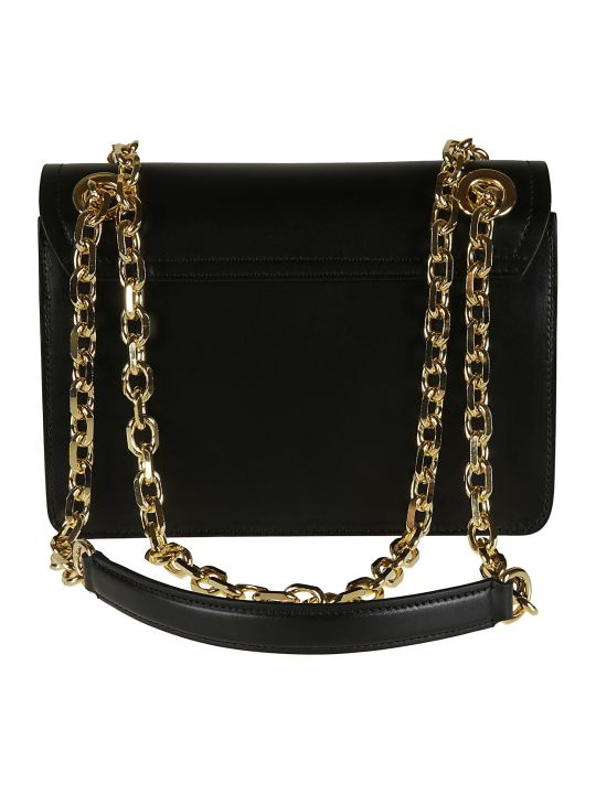 Moschino Logo Plaque Flap Chain Shoulder Bag